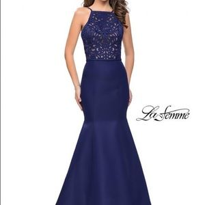 La Femme halter mermaid gown for prom/formal